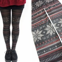 Snowflake Pattern Holiday Christmas Tights /Leggings