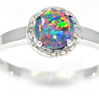 1 Carat Black Opal Round Diamond Ring .925 Sterling Silver Rhodium Finish AVAILABLE IN ANY SIZE, AFTER PURCHASE MESSAGE US WITH THE SIZE YOU WANT!!!