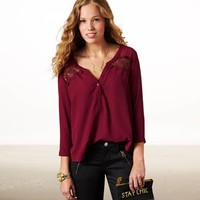 AE PANELED LACE TOP