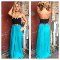 Teal Maxi with Gold Beaded Bodice