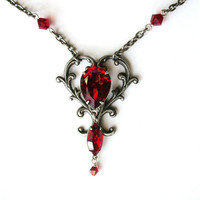 Silver Victorian Heart Shaped Pendant - Ruby Swarovski Crystals Necklace - Victorian Jewelry