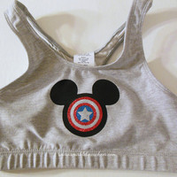 Super Mickey Captain America Cotton Sports Bra Cheerleading, Yoga, Running, Working Out, Disney Marathon