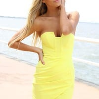 Neon Yellow Strapless Bodycon Mini Dress with Pleat Detail
