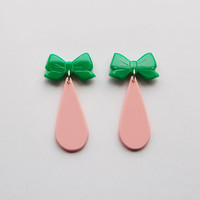 Sweetie Green Bow Earrings