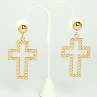 CROSS CHAIN EARRINGS