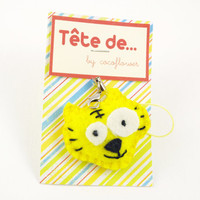 Felt Tiger Head Keychain stuffed animal Plush Keyring lemon Yellow