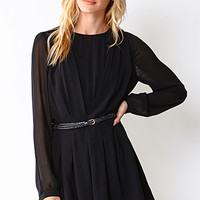 Georgette Romper w/ Braided Faux Leather Belt