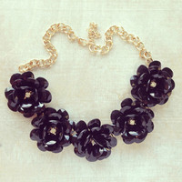 LARGE BLACK BLOOMS STATEMENT NECKLACE