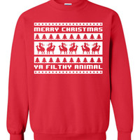 Merry CHRISTMAS ya filthy animal Shitters FULL Christmas Vacation 8-bit Chevy Chase funny retro movie xmas ugly sweater sweatshirt ML-186S