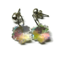Crystal Snowflake Earrings, Christmas Winter Jewelry, Clear, Prismatic and Colorful, Nickel Free Posts, Dangle Style