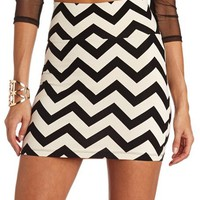CHEVRON PRINT MINI SKIRT
