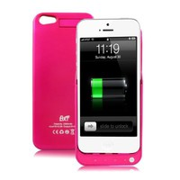 GREENERY*/ HIGH QUALITY External Backup Rechargeable Extended Battery Charger Case for iPhone 5 Mobile Phone,iPhone 5 Portable Power Bank/Multi-color Available(Not Compatible with iPhone 5S/5C) (Rose, 2200mah)