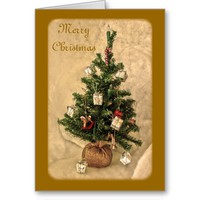 Golden Christmas Tree Card Card