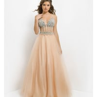 (PRE-ORDER) Pink by Blush 2014 Prom Dresses - Champagne Beaded Open Back Prom Gown