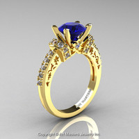 Modern Armenian Classic 14K Yellow Gold 1.5 Ct Blue Sapphire Diamond Wedding Ring R137-14KYGDBS