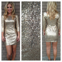 Gold 3/4 Sleeve Sequin Dress
