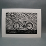 Lady Bicycle  Linocut Print by kellismprints on Etsy