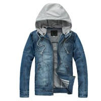 Allegra K Mens 2012 New Fashion Zip Up Thick Denim Jacket Light Blue M