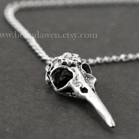 antique silver bird skull necklace, steampunk style, skull necklace, vintage style