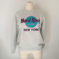 Vintage Hard Rock Cafe Sweatshirt - New York - Gray - Size M/L