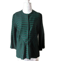 """Vintage 1940s Green and Black Stripe Faille Jacket with 3/4 Length Sleeves, Stunning Striped Jacket, Bust 39"""" (99.1cm), Free US Shipping"""