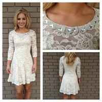 Cream Lace Diamond Crystal Neckline Dress