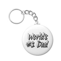 World's #1 Dad 3D Key Chains, Black