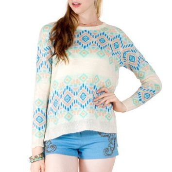 Flying Tomato Women's Aztec Print Pullover