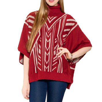 Flying Tomato Women's Aztec Print Turtle Neck Poncho