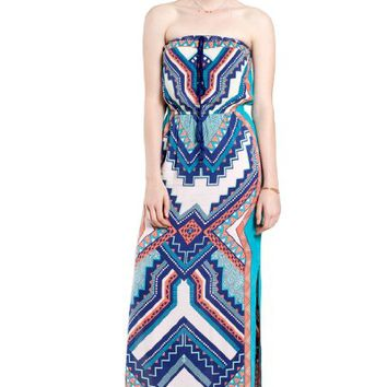 Flying Tomato Women's Aztec Print Tube Maxi Dress