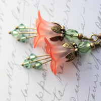 Coral Red Lucite Flower Earrings Bellflowers Green Blue Lucite Jewelry Unique Dangle Earrings Christmas Beach Jewellery
