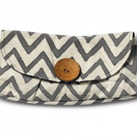Grey Chevron Button Clutch
