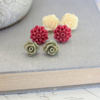 Rose Earrings Flower Studs Yellow Cream Rose Post Earrings Deep Wine burgundy Dahlia Khaki Green Rose Christmas Jewellery Stocking Stuffers