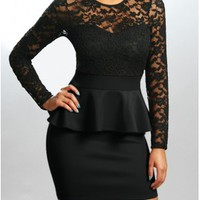 The Black Sleeve Peplum Dress