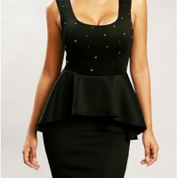 The Black Studs Peplum Dress