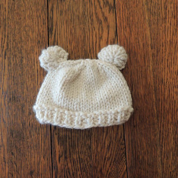Hand Knit Bear Ear Hat