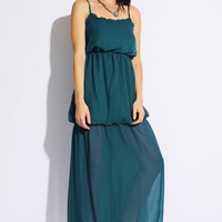 Teal Ruffle Maxi Dress