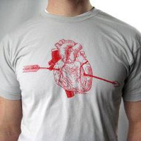Men's Screen Printed American Apparel Heart and by Rabbitapparel