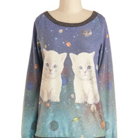 Cats-tronomical Sweatshirt | Mod Retro Vintage T-Shirts | ModCloth.com