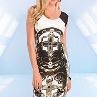 White Black and Gold Print Midi Dress with Mesh Detail