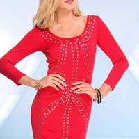Red Bodycon Dress with Silver Stud Front & Cutout Back
