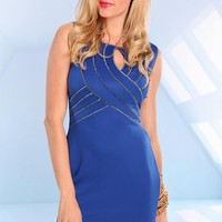 Blue Sleeveless Bodycon Dress with Silver Trim Detail
