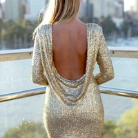 Gold Sequin Long Sleeve Deep Plunge Drape Back