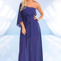 Royal Blue One Shoulder Chiffon Maxi Dress with Waist Tie