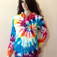 Tie Dye Fleece Jacket - Hooded Sweatshirt, Hippie Clothes