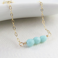 Turquoise Beaded Gold Bracelet, 14kt Gold Filled Bracelet, Gift for Her