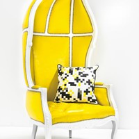 www.roomservicestore.com - French Twist Balloon Chair in Yellow Faux Leather