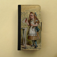 Alice in Wonderland, Drink Me iPhone wallet case, iPhone 4/5, Samsung Galaxy S3 / S4, iPhone wallet, book style, iPhone flip case