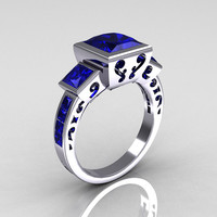 Classic Bridal 18K White Gold 2.5 Carat Square Three Stone Princess Blue Sapphire Ring R315-18WGBS