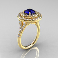Classic Soleste 14K Yelow Gold 1.0 Ct Blue Sapphire Diamond Ring R236-14YGDBS